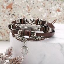 цены New feather crescent multilayer artificial leather bracelet creative retro punk black men's bracelet