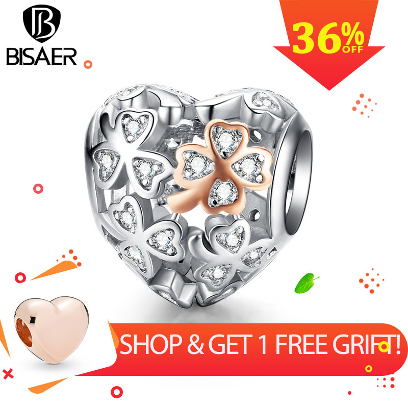 BISAER Romantic 925 Sterling Silver Clover Flower Engrave Beads In Heart Shape Charms Fit Bracelets Silver 925 Jewelry ECC1248