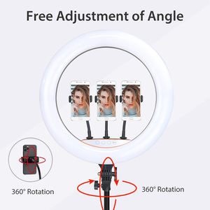 Image 3 - 18 inch 45cm RGB Ring Light Selfie Colorful Photography Lighting with Phone Holder Stand LED Ring Lamp For Youtube Video Lives