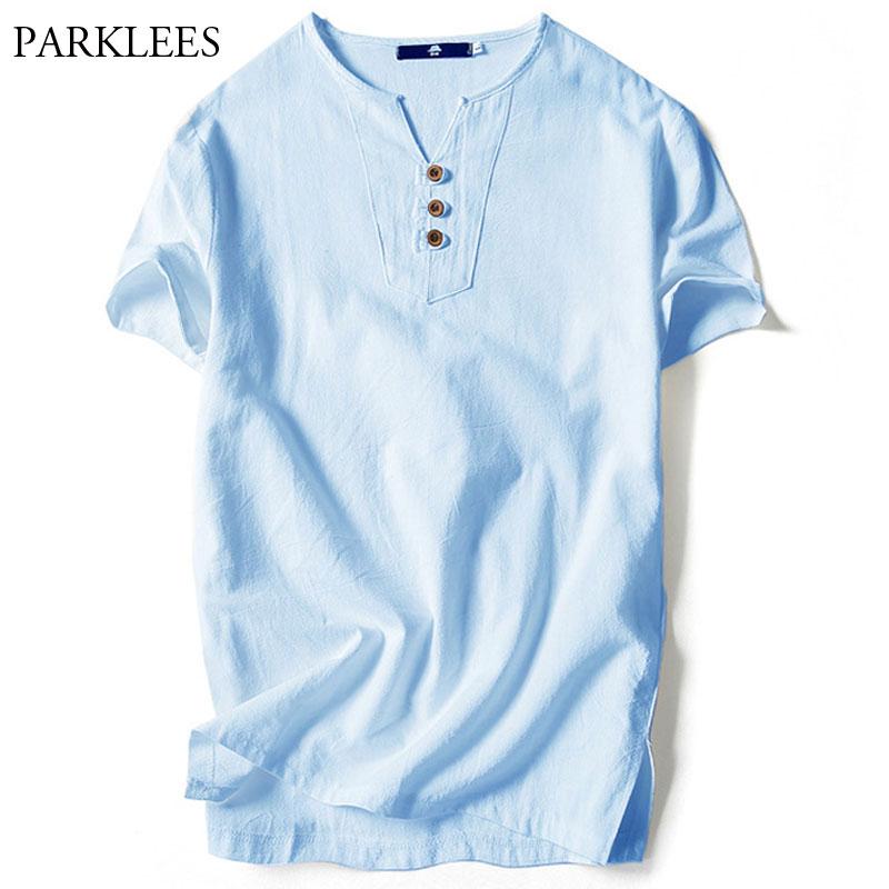 Men/'s Short Sleeve Cotton Linen Casual T-Shirt V-Neck Thin Breathable Top Blouse