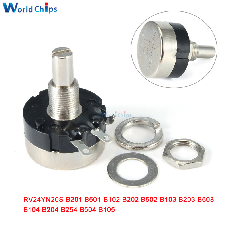 New 5pcs RV24YN 20S B203 20K ohm Carbon Composition Rotary Taper Potentiometer