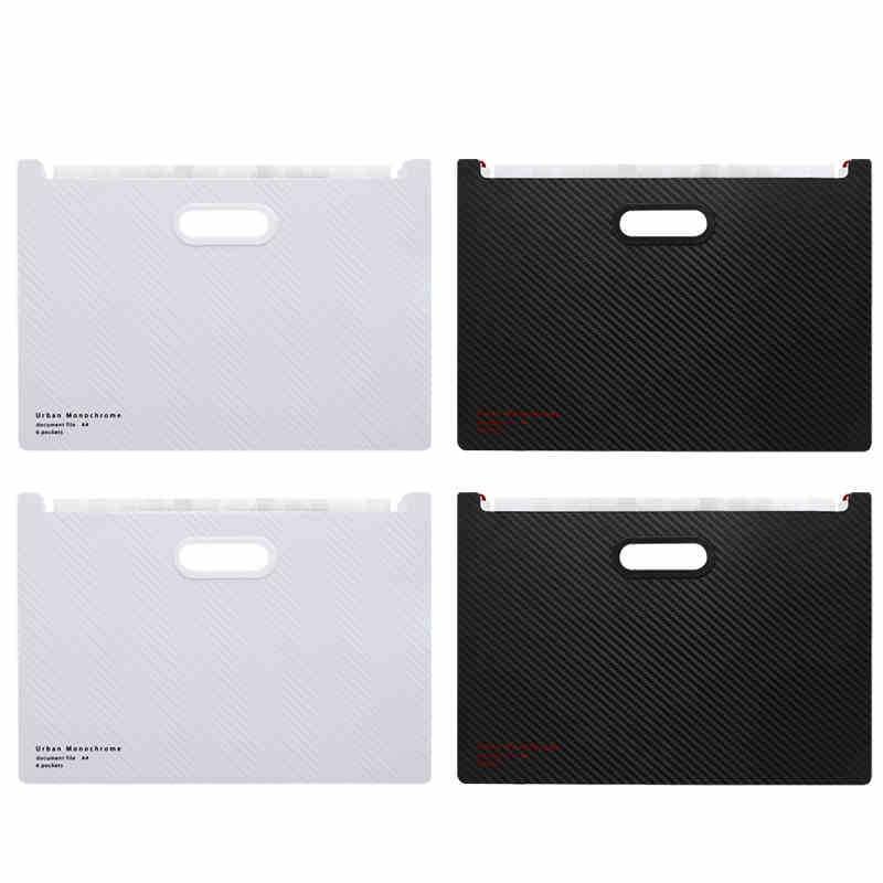 Black /White Vertical Horizontal Organ Bag Storage File Case A4 Multi-layer File Storage Office Supplies