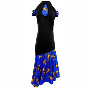 African dresses for women fashion Halter Dress ankara Print wax dress African sexy party dress African traditional dresses chic halter fishtail floral print sheath dress for women