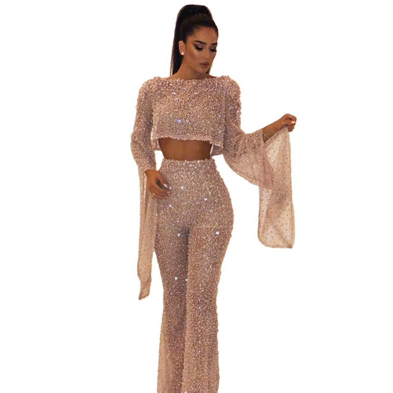 2019 Autumn Women Sexy Glitter Sparkly Backless Jumpsuits Evening Clubwear Long Overalls Club Party Night One Piece Jumpsuit