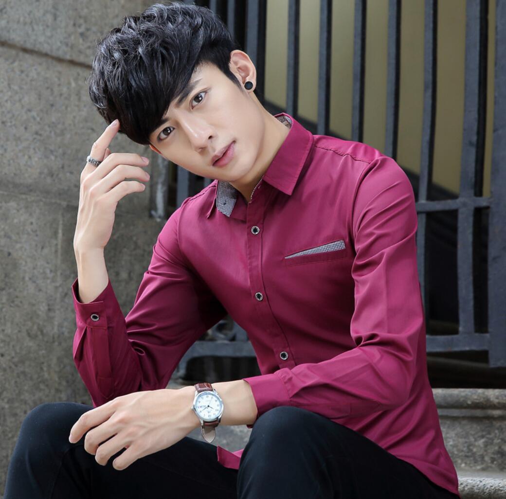 2020 Autumn New Men's Long-sleeved Shirt Men's Casual Shirt Men's Slim Solid Color Shirt  PL7712-1-8