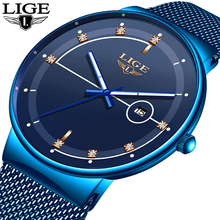 2019 New Blue Quartz Clock LIGE Mens Watches