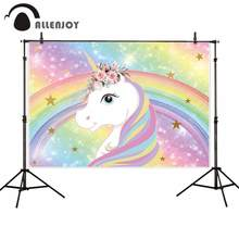 Allenjoy Unicorn Events Background Glitter Colorful Rainbow Flowers Leaves Stars Bokeh Party Decor Baby Birthday Backdrops Props(China)