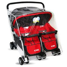 Baby Pushchairs Rain Cover for Twins Clear Stroller Raincoat Wind Dust Shield