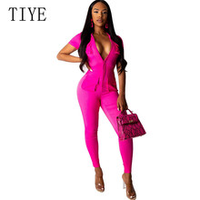 TIYE Sexy Fashion Super Stretch Womens Slim Bodysuits New Arrival Hollow Out Zipper Pockets Bodycon Bandage Femme Playsuits