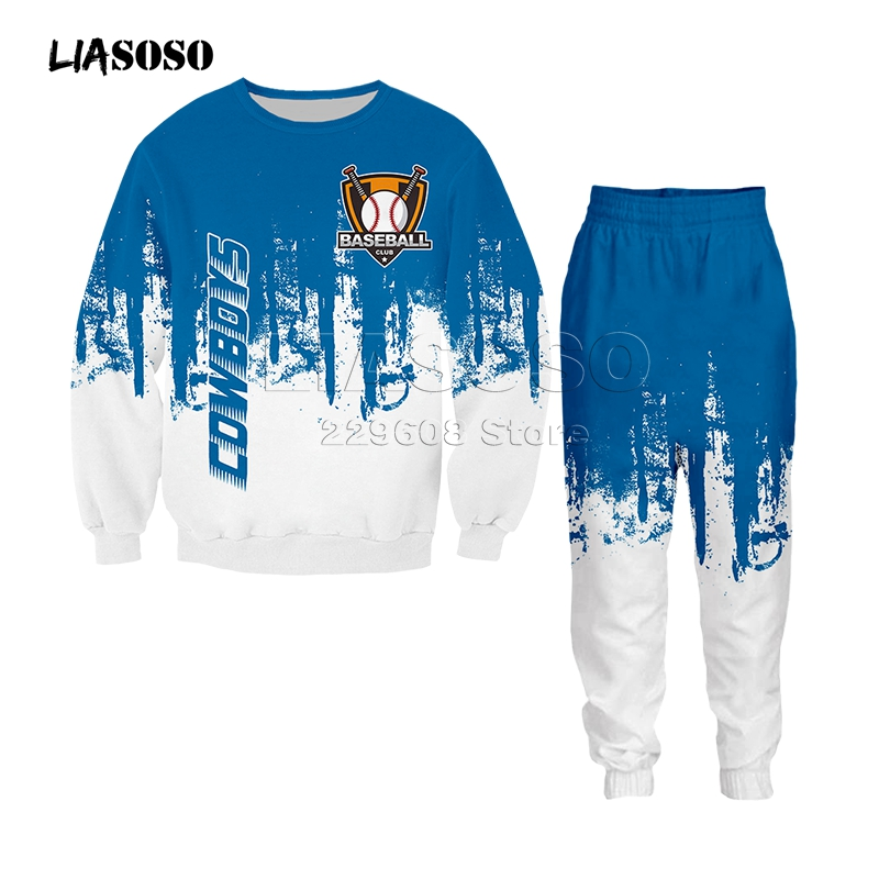Men&women Fashion Clothing Set Sweatshirt+pants 2 Piece Tracksuits Baseball Logo Print Suits Sport Wear Hip Hop Two-color Suit