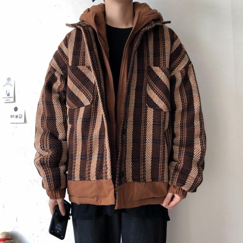Winter Thicken Plaid Woolen Jacket Men's Warm Parka Men Fashion Retro Casual Hooded Coat Man Loose Cotton Jacket Male Clothes