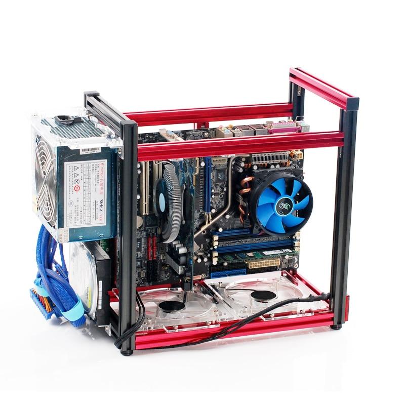 Placa de Alumínio Refrigerado a Água Todo o Alumínio M-atx Grande Computador Case Vertical Jogo Quadro 120 Atx –