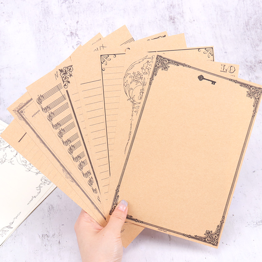 8PCS Vintage Letter Paper Stationery Kraft Paper Writing Paper Letter For Kids Gifts School Office Supplies