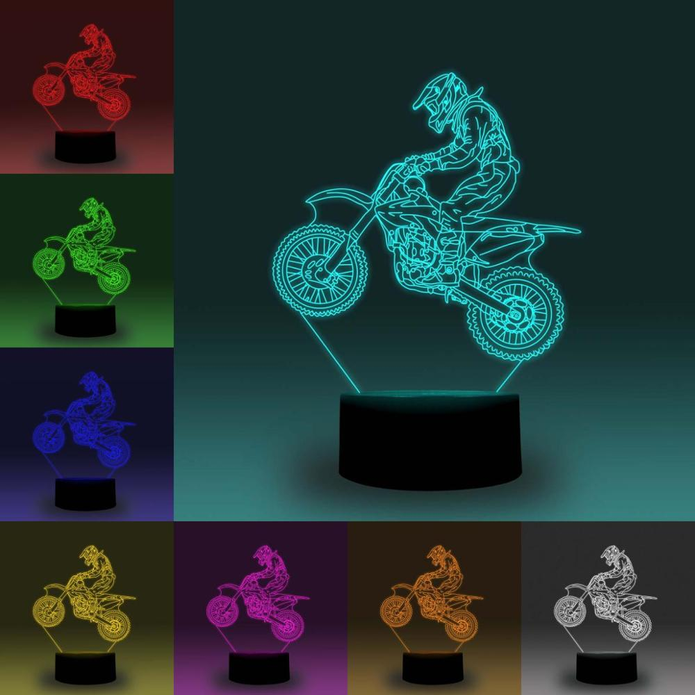 NiteApps 3D OFF-ROAD MOTORCYCLING Night Light Desk Table Illusion Decoration Lamp Holiday Birthday Gift APP/Touch Control