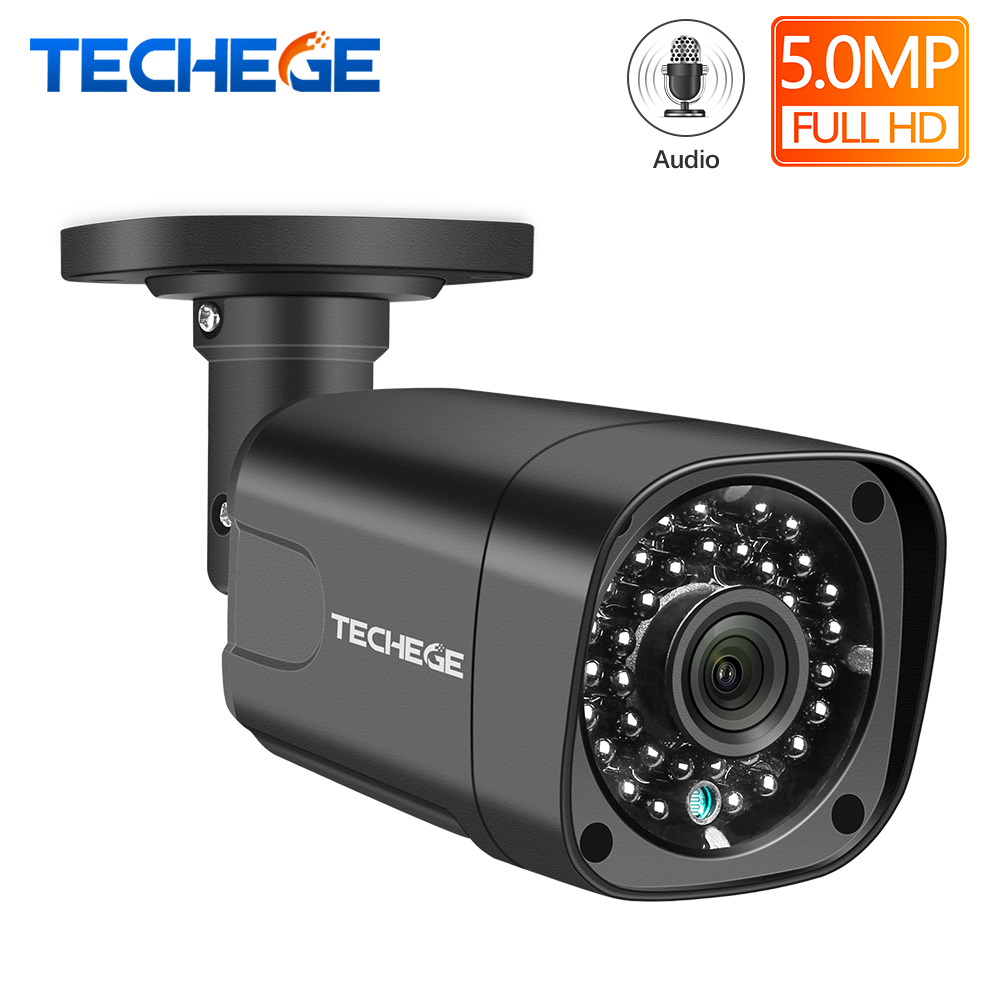 Techege Audio Security IP Camera POE Super HD 5MP H.265 ONVIF Outdoor Waterproof CCTV Camera Video Surveillance Home For POE NVR