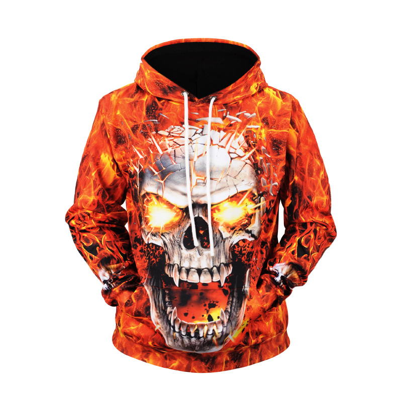 Hoodie 2019 New Style Fire Skull Printed Men's Sweatshirts & Hoodies Large Size Amazon Coat Autumn And Winter Sweater Fashion