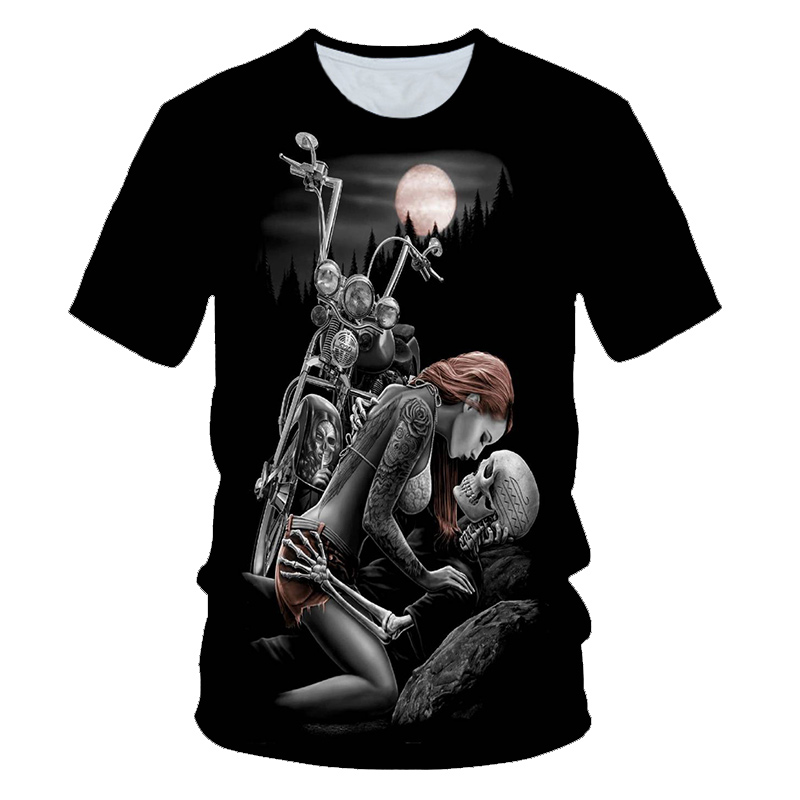 3D Printed Fashionable Motorcycle Beauty Skull T-shirt Summer Personality Casual Short-sleeved Tops For Men And Women