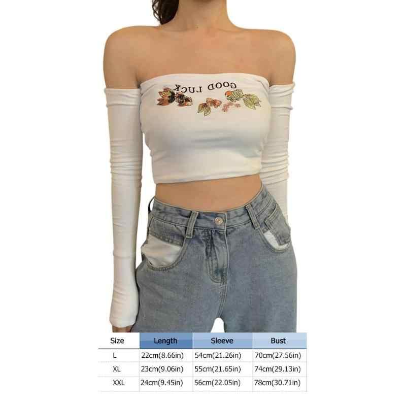 אביב סתיו נשים חולצה פוליאסטר חלב משי רך בד אחד מילת צווארון ארוך שרוול סטרפלס כבוי כתף רקמת חולצות
