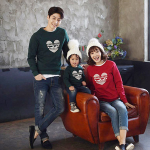 Parent Child Outfits Clothing-Set T-Shirts Autumn Winter Plus velvet Long sleeve Sweatshirt Casual Cotton Baby Mommy And father