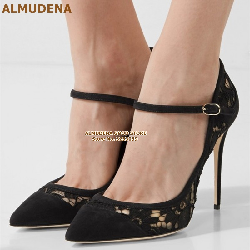ALMUDENA Black Lace Pointy Toe Mary Jane Pumps  Stiletto Heel Lace Flowers Embroidery Wedding Shoes Floral Buckle Banquet Shoes