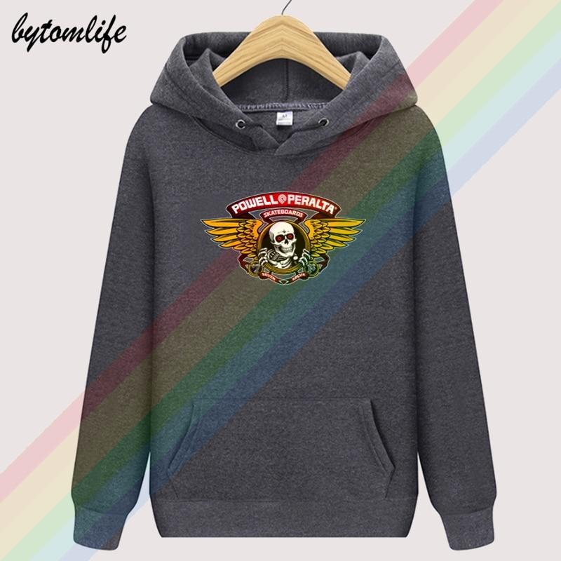 POWELL PERALTA Bones Brigade Skateboard Skull Unisex Top Hoodie Mens Wool Clothing Sweatshirt Pullover Unisex Asian Size