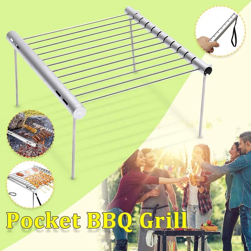 Outdoor Portable Folding Stainless Steel Barbecue Grill Camping Picnic BBQ Rack Mini Pocket BBQ Grill Barbecue Accessories