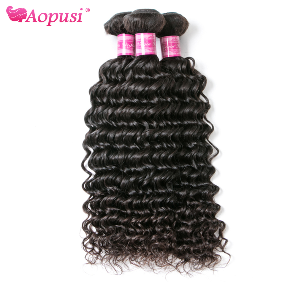 Малазийские пряди человеческих волос с глубокой волной Aopusi, натуральные пряди, человеческие волосы, глубокие вьющиеся волосы для наращиван...