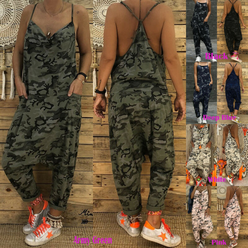 Womens Summer Cotton Jumpsuit Dungarees Pants Camouflage Overalls S-2XL