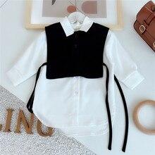 Gooporson Fashion Korean Loose Little Girls Long Sleeve Shirt Two Piece Set Blouse Cute White Long Tops Autumn Children Costume