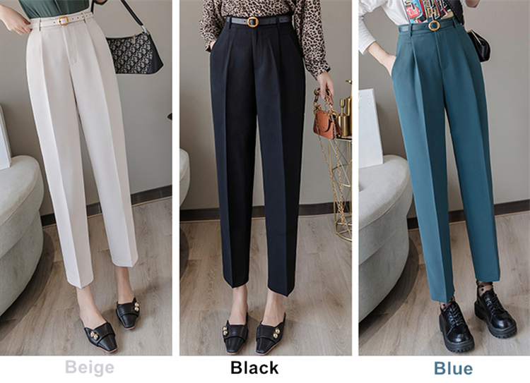 H1f0f9015f2ba481ca3451cc72520b235i - Colorfaith New Spring Winter Women Pants High Waist Loose Formal Elegant Office Lady Ankle-Length With Belt Pants P7223
