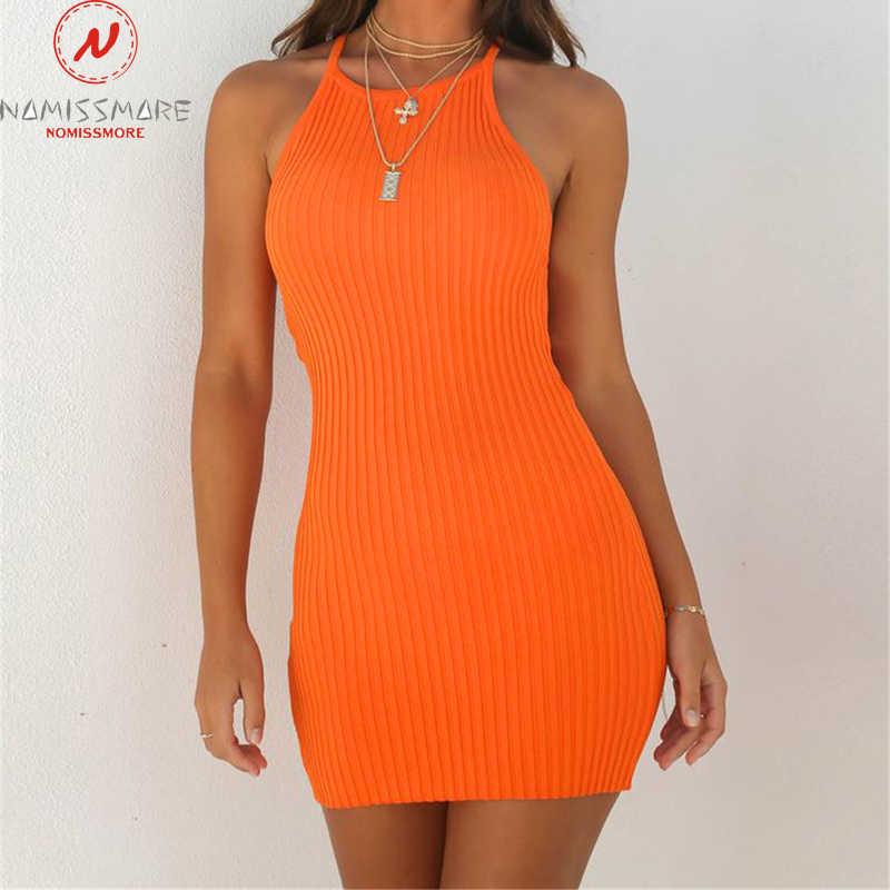 リブ女性のサマードレスセクシーなノースリーブスリングボディコンドレスファッションソリッドカラーのミニドレスエレガントなオフィスレディ服