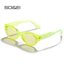 Модные флуоресцентные зеленые солнцезащитные очки so & ei «кошачий