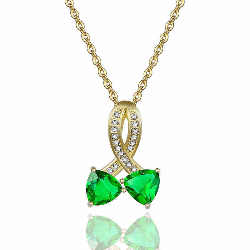 Klasik Perak Hati Ke Hati Liontin Kalung Bening CZ Liontin Kalung untuk Wanita Perhiasan Green Clear Menyilaukan Cubic Kalung