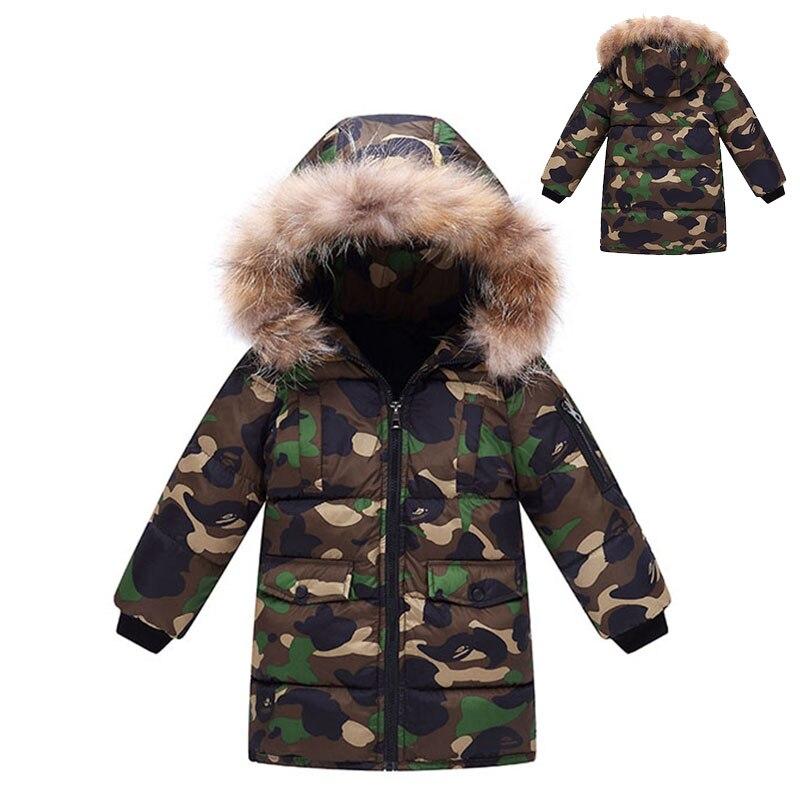 Thickening Winter Warm Fur Collar Camouflage Kids Boys Girls Jacket Children Outerwear Windproof Baby Boys Girls COats 3-12Yrs