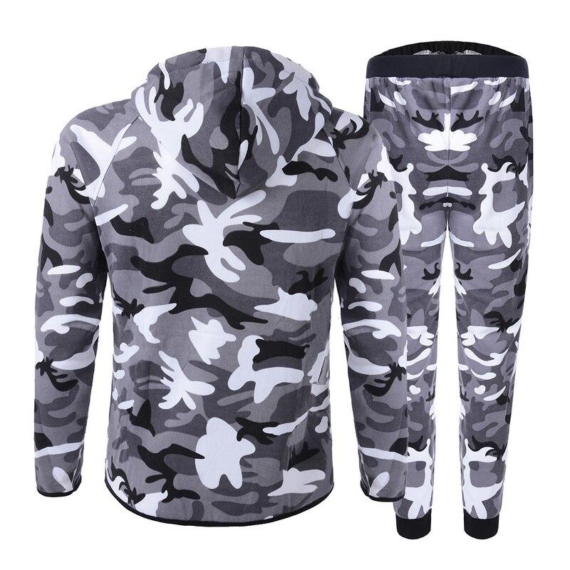 2020 Men Causal Camouflage Print Sets Camo Jacket+Pants 2Pc Tracksuit Sportwear Hoodies Sweatshirt &Pant Suit Plus Size
