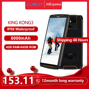 Image 1 - Cubot King Kong 3 IP68 Водонепроницаемый Защитный Телефон NFC 6000 мА/ч, большая Батарея Android 8,1 4 Гб + 64 Гб Тип C FastCharge OctaCore KingKong 3