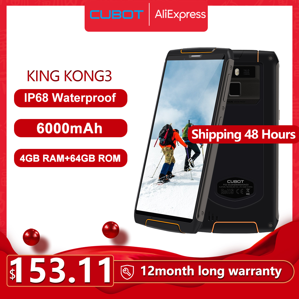 Cubot King Kong 3 IP68 Waterproof RuggedPhone NFC 6000mAh Big Battery Android 8.1 4GB+64GB Type-C FastCharge OctaCore KingKong 3