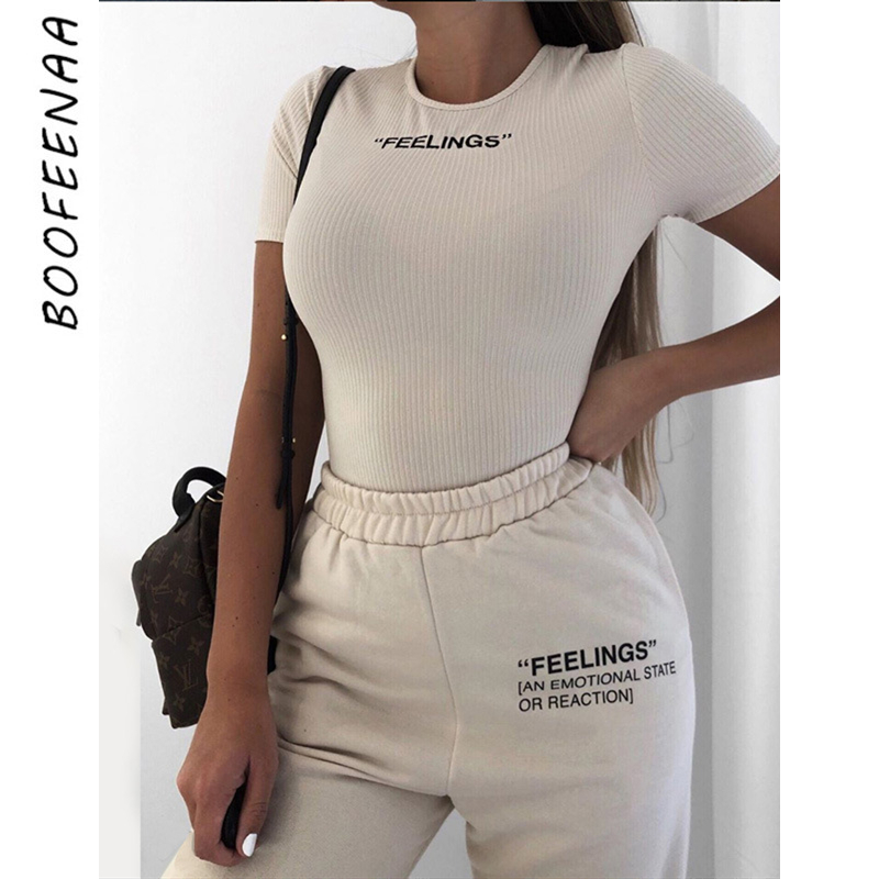 BOOFEENAA Feelings Letter Print Fashion Sweatpants Women Streetwear Joggers High Waist Loose Pants Casual Trousers 2020 C71-AH33