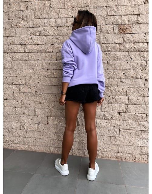 Oversized Sweatshirt Women Solid Purple Hoodies Top Clothes Hoody Female Autumn Winter Loose Big Pocket Pullover Sweatshirt