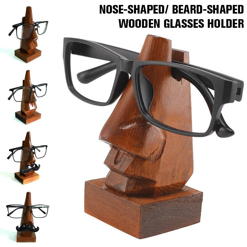 NEW 5-Style Handmade Wooden Carved Nose Glasses Frame Glasses Holder Home Desktop Accessories Glasses Holder