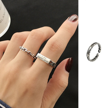925 Silver Rectangular Wide Ring Twist Weaving Letters Trendy Adjustable Men and Women Rings New 2021