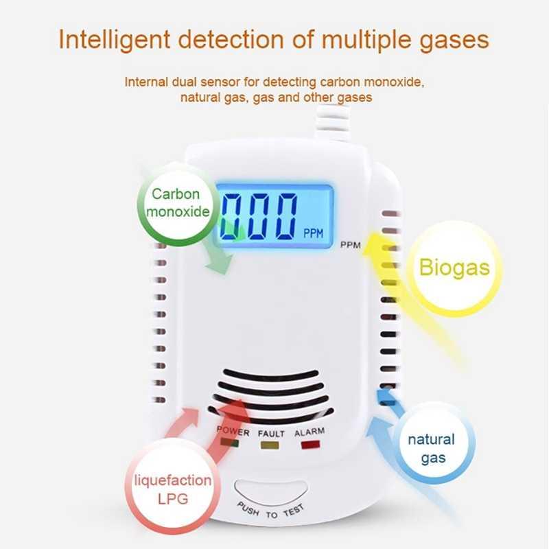 Combustible Gas Detector Sensor LPG Gas Analyzer Kebocoran Menentukan Tester Suara Ringan Alarm Keamanan Sistem Alarm (Uni Eropa plug)