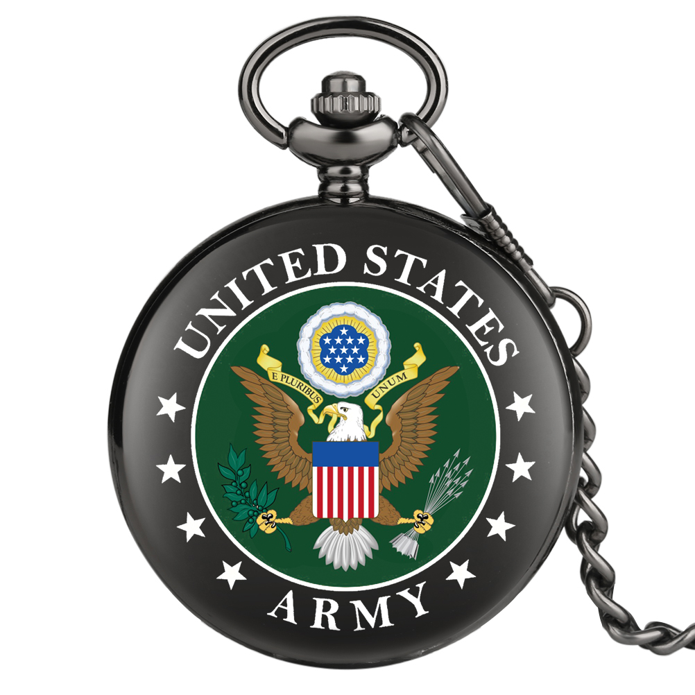 2020 New Fashion US Army Eagle Quartz Pocket Watch With Chain Retro Men Women Steampunk Pendant Necklace Clock Souvenir Gifts