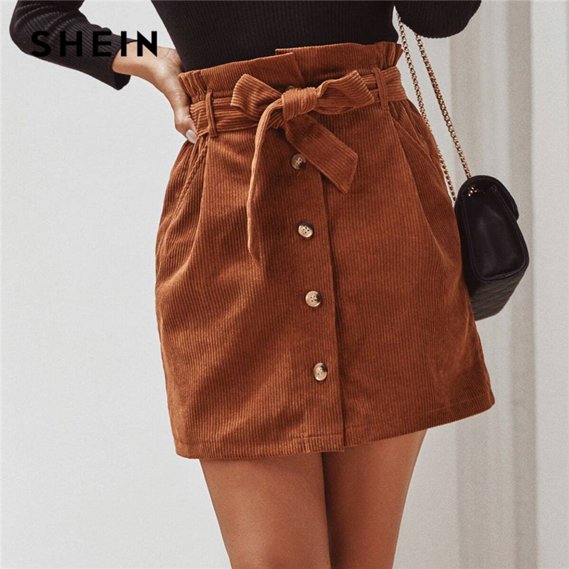 SHEIN Solid Button Front Casual Corduroy Skirt With Belt Womens Spring Paperbag Waist Streetwear Pocket Ladies Mini Skirts