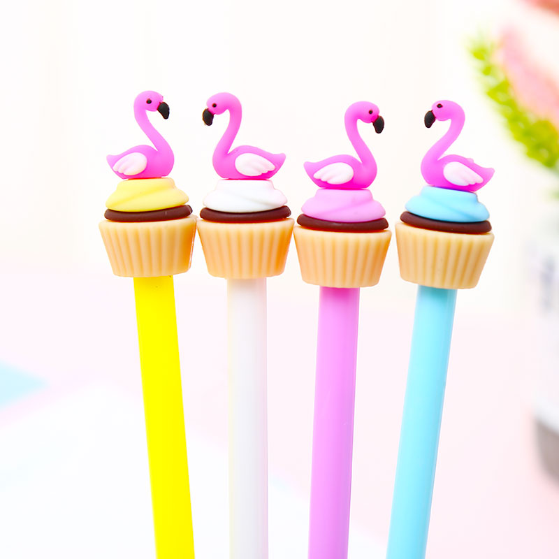 12Pcs/pack Creative Cool Fun Flamingo Gel Pens Blue Ink Stationery Cute Thing School Office Novelty Pencil Case Bag Wedding Gift