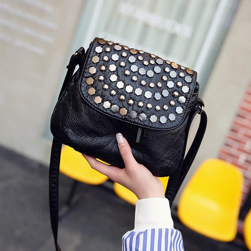 ANAWISHARE Rivet Crossbody Bags For Women Messenger Bag Small Leather Shoulder Bags Women Handbags Bolsa Feminina Bolsos Mujer