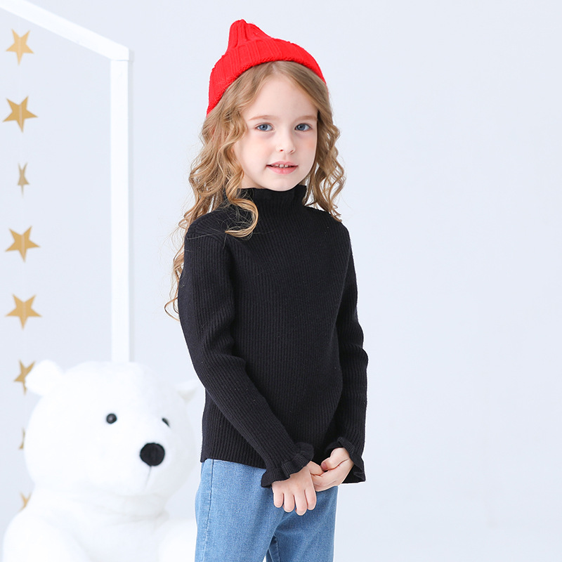 2019 Autumn And Winter New Style Brand Childrenswear Korean-style Children Knitted Candy-Colored Sweater Frilled Girls Base Swea