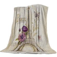 Vintage Paris Tower Butterfly Bedspread Blankets Blanket Travel Fleece Cover Wrap Skin-Friendly Personalized Anti-Static(China)