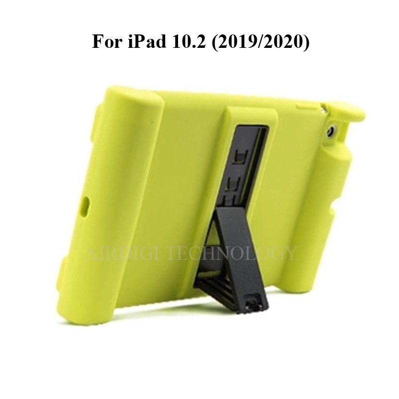 turquoise Pink Soft Shockproof Silicone Cover Kickstand Case for iPad 10 2 A2198 A2200 A2197 A2270 A2428 A2429