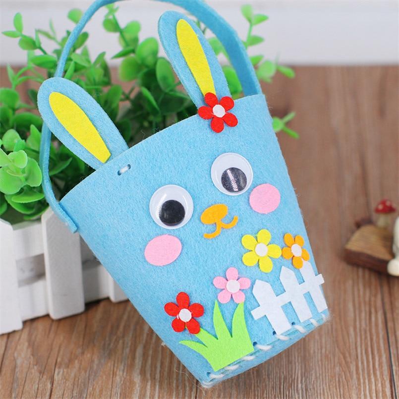 2PCS/set Kindergarten 3D DIY Rabbit Easter Bag Handbag Storage Basket Pen Holder Toys For Baby Kids Educational Art Crafts Toy